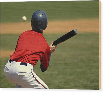 Baseball Batter Wood Print by Lane Erickson