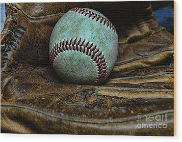 Baseball Broken In Wood Print by Paul Ward
