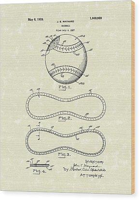 Baseball By Maynard 1928 Patent Art Wood Print