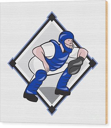 Baseball Catcher Catching Side Diamond Cartoon Wood Print by Aloysius Patrimonio