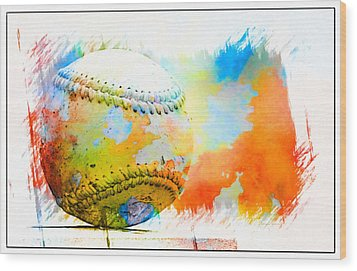 Baseball- Colors- Isolated Wood Print by Kenny Francis