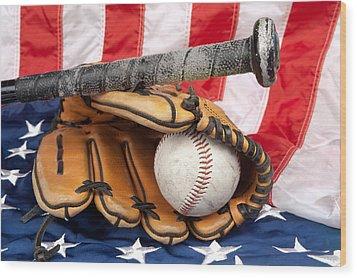Baseball Equipment On American Flag Wood Print by Joe Belanger