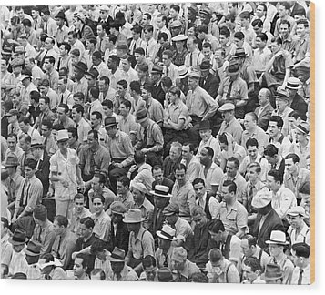 Baseball Fans In The Bleachers At Yankee Stadium. Wood Print by Underwood Archives