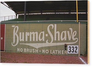 Baseball Field Burma Shave Sign Wood Print by Frank Romeo