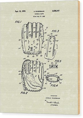 Baseball Glove 1970 Patent Art Wood Print by Prior Art Design