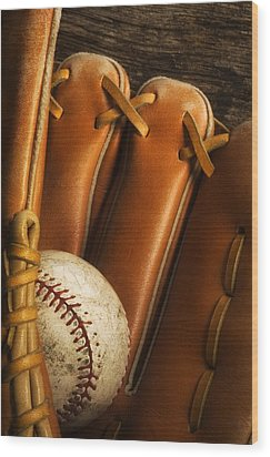 Baseball Glove And Baseball Wood Print by Chris Knorr