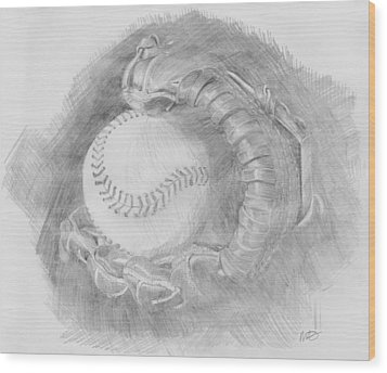 Baseball Glove Wood Print by Michele Engling