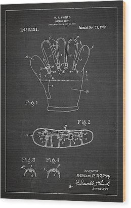 Baseball Glove Patent Drawing From 1922 Wood Print
