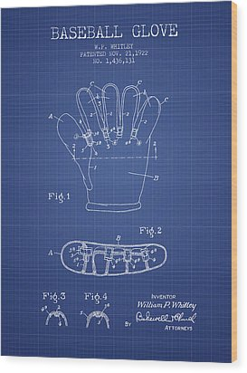 Baseball Glove Patent From 1922 - Blueprint Wood Print by Aged Pixel
