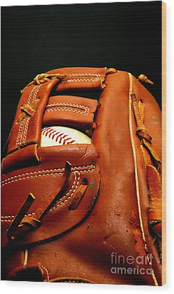 Baseball Glove With Ball Wood Print by Danny Hooks