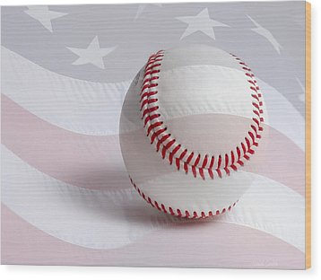 Baseball Wood Print by Heidi Smith
