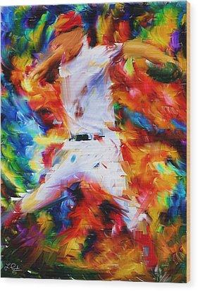 Baseball  I Wood Print by Lourry Legarde