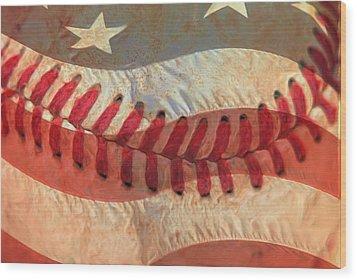 Baseball Is Sewn Into The Fabric Wood Print