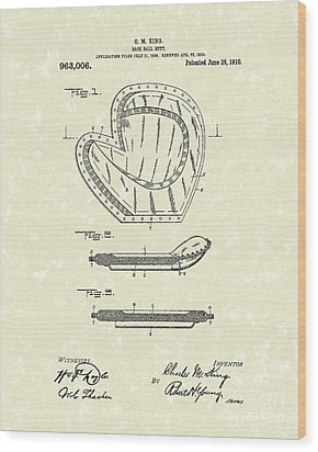 Baseball Mitt 1910 Patent Art Wood Print by Prior Art Design