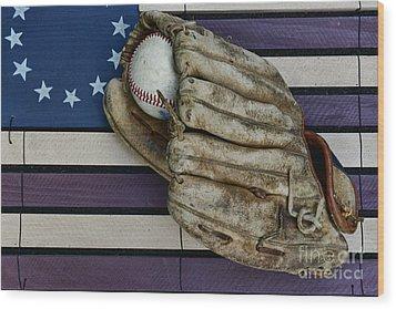 Baseball Mitt On American Flag Folk Art Wood Print by Paul Ward
