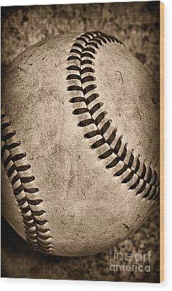 Baseball Old And Worn Wood Print by Paul Ward