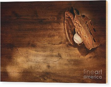 Baseball Wood Print by Olivier Le Queinec