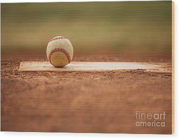 Baseball On The Pitchers Mound Wood Print