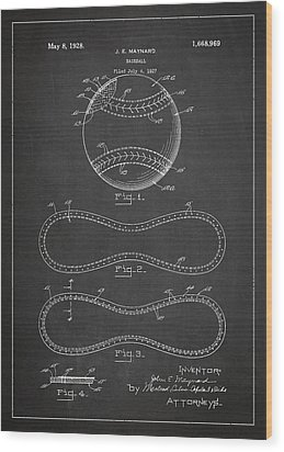 Baseball Patent Drawing From 1927 Wood Print