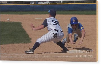 Baseball Pick Off Attempt Wood Print by Thomas Woolworth