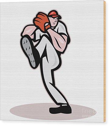 Baseball Pitcher Cartoon Wood Print by Aloysius Patrimonio