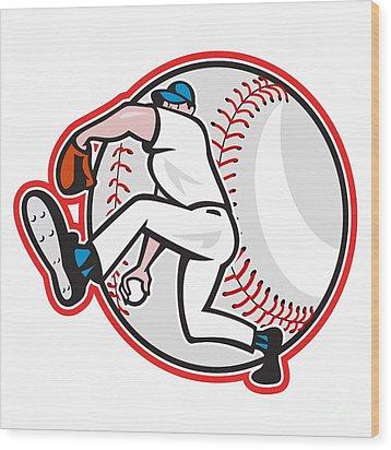 Baseball Pitcher Throw Ball Cartoon Wood Print by Aloysius Patrimonio