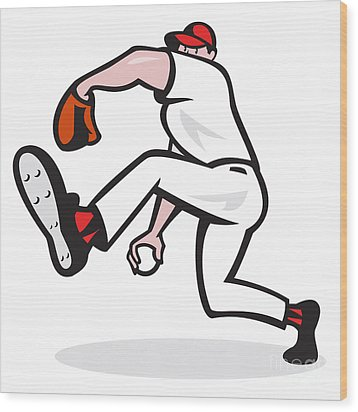 Baseball Pitcher Throwing Ball Cartoon Wood Print by Aloysius Patrimonio