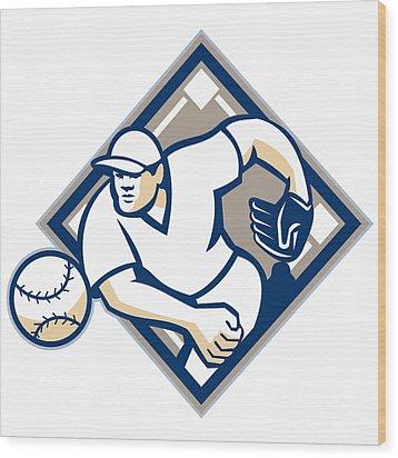 Baseball Pitcher Throwing Ball Diamond Wood Print by Aloysius Patrimonio