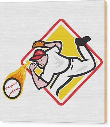 Baseball Pitcher Throwing Fire Ball Diamond Wood Print by Aloysius Patrimonio
