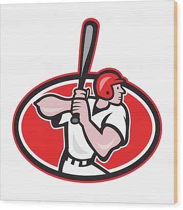 Baseball Player Batting Cartoon Oval Wood Print by Aloysius Patrimonio