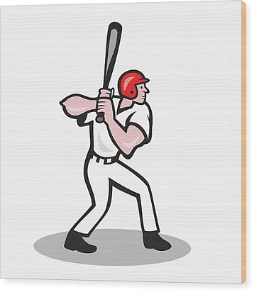 Baseball Player Batting Side Cartoon Wood Print by Aloysius Patrimonio