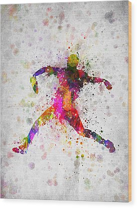 Baseball Player - Pitcher Wood Print by Aged Pixel