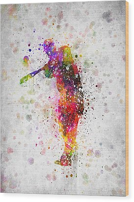 Baseball Player - Taking A Swing Wood Print by Aged Pixel