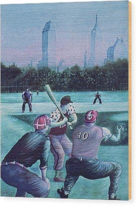 New York Central Park Baseball - Watercolor Art Wood Print
