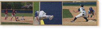 Baseball Playing Hard 3 Panel Composite 02 Wood Print by Thomas Woolworth