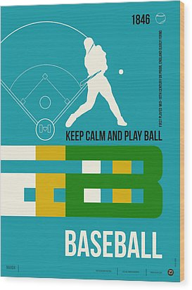 Baseball Poster Wood Print by Naxart Studio