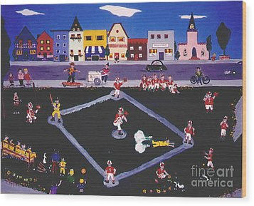 Wood Print featuring the painting Baseball Practice by Joyce Gebauer