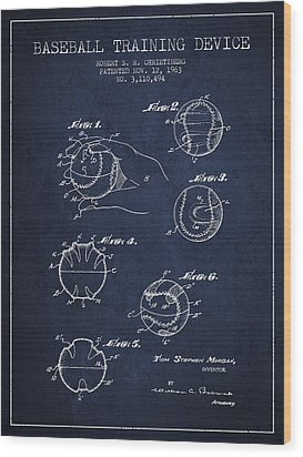 Baseball Training Device Patent Drawing From 1963 Wood Print