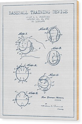 Baseball Training Device Patent Drawing From 1963 - Blue Ink Wood Print