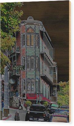 Basin Park Hotel Wood Print by Jan Amiss Photography