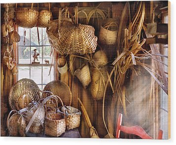 Basket Maker - I Like Weaving Wood Print by Mike Savad