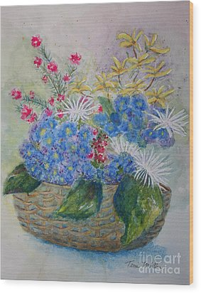 Basket Of Flowers Wood Print by Terri Maddin-Miller
