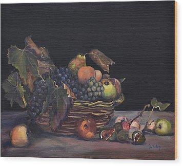 Basket Of Fruit Wood Print by Donna Tuten