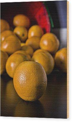 Basket Of Oranges Wood Print by Jeff Burton