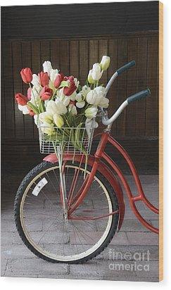 Basket Of Tulips Wood Print by Birgit Tyrrell