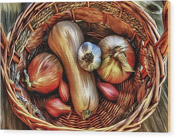Wood Print featuring the painting Basket Of Vegetables by Sharon Beth