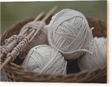 Basket Of Yarn Wood Print by Wilma  Birdwell
