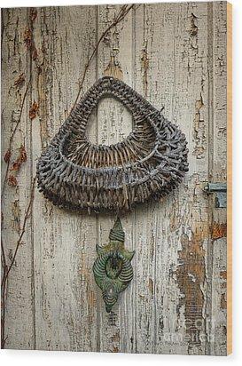 Basket On Weathered Door Wood Print