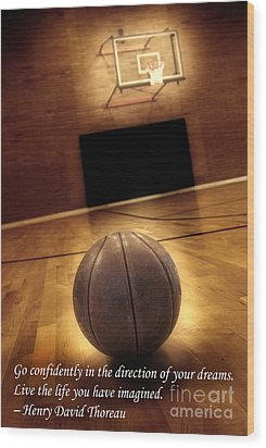 Basketball And Success Wood Print by Lane Erickson