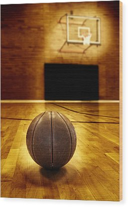 Basketball Court Competition Wood Print by Lane Erickson
